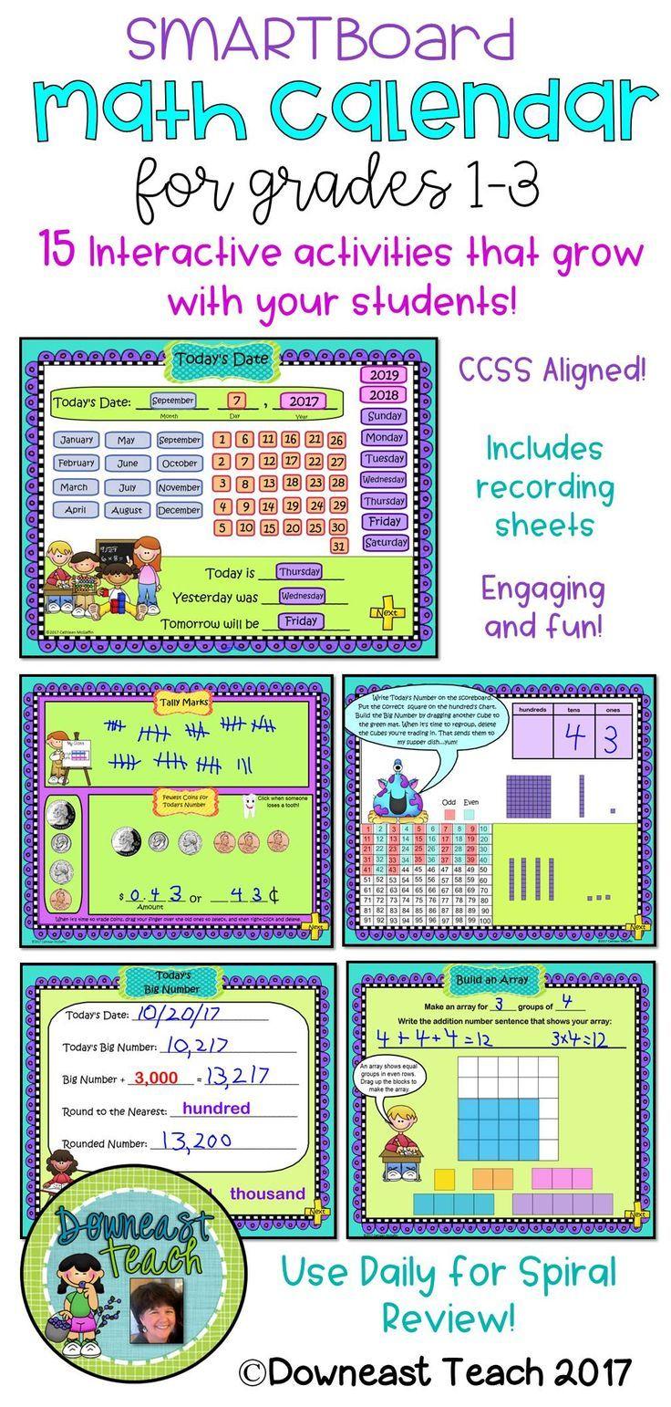 Math Calendar Calendar Math For Smartboard Grades 1 3