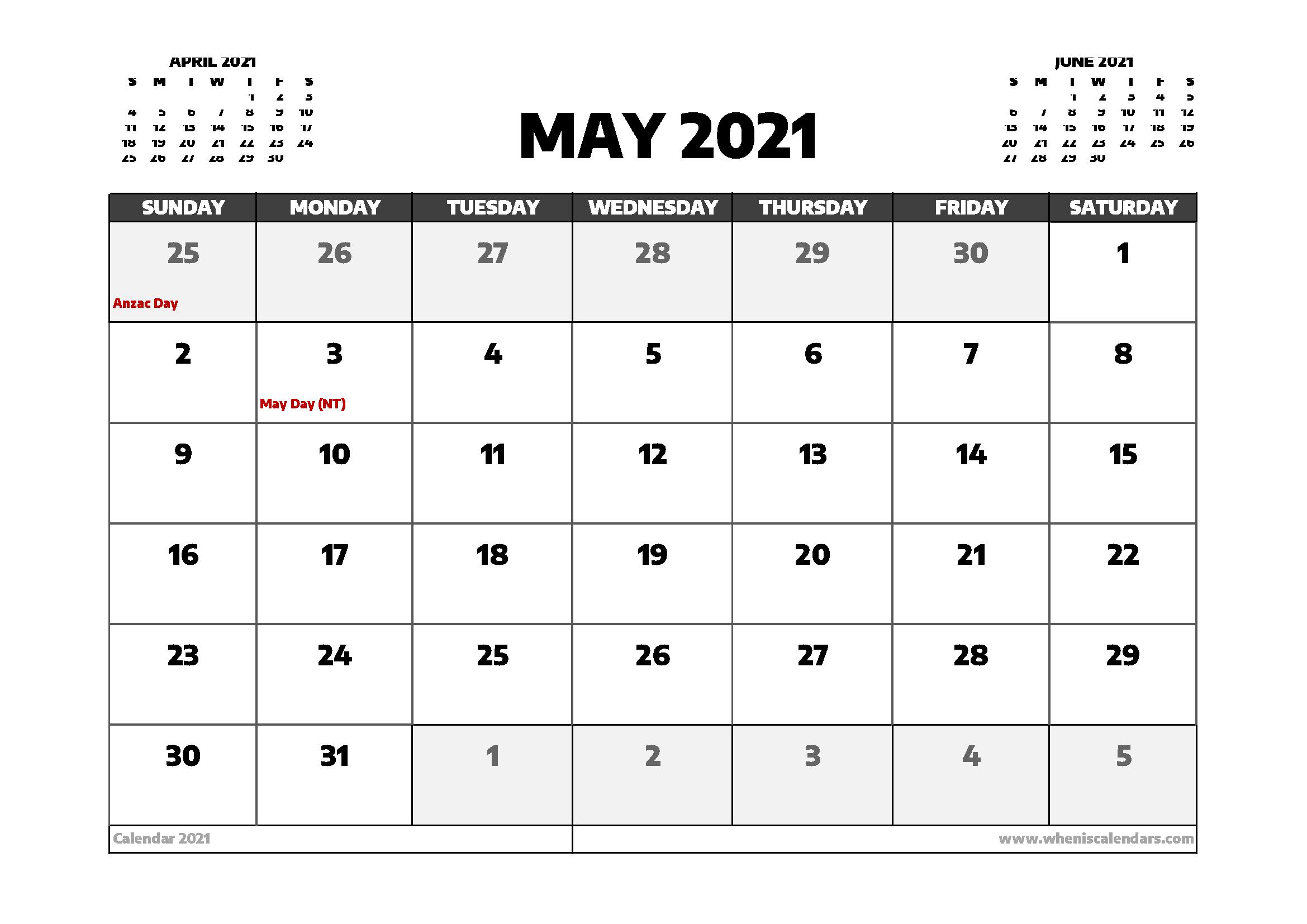 may 2021 calendar australia with holidays free printable ...
