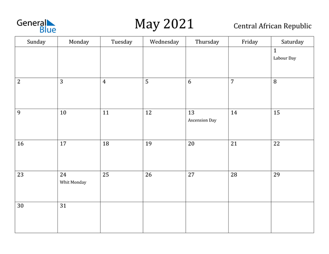 May 2021 Calendar Central African Republic