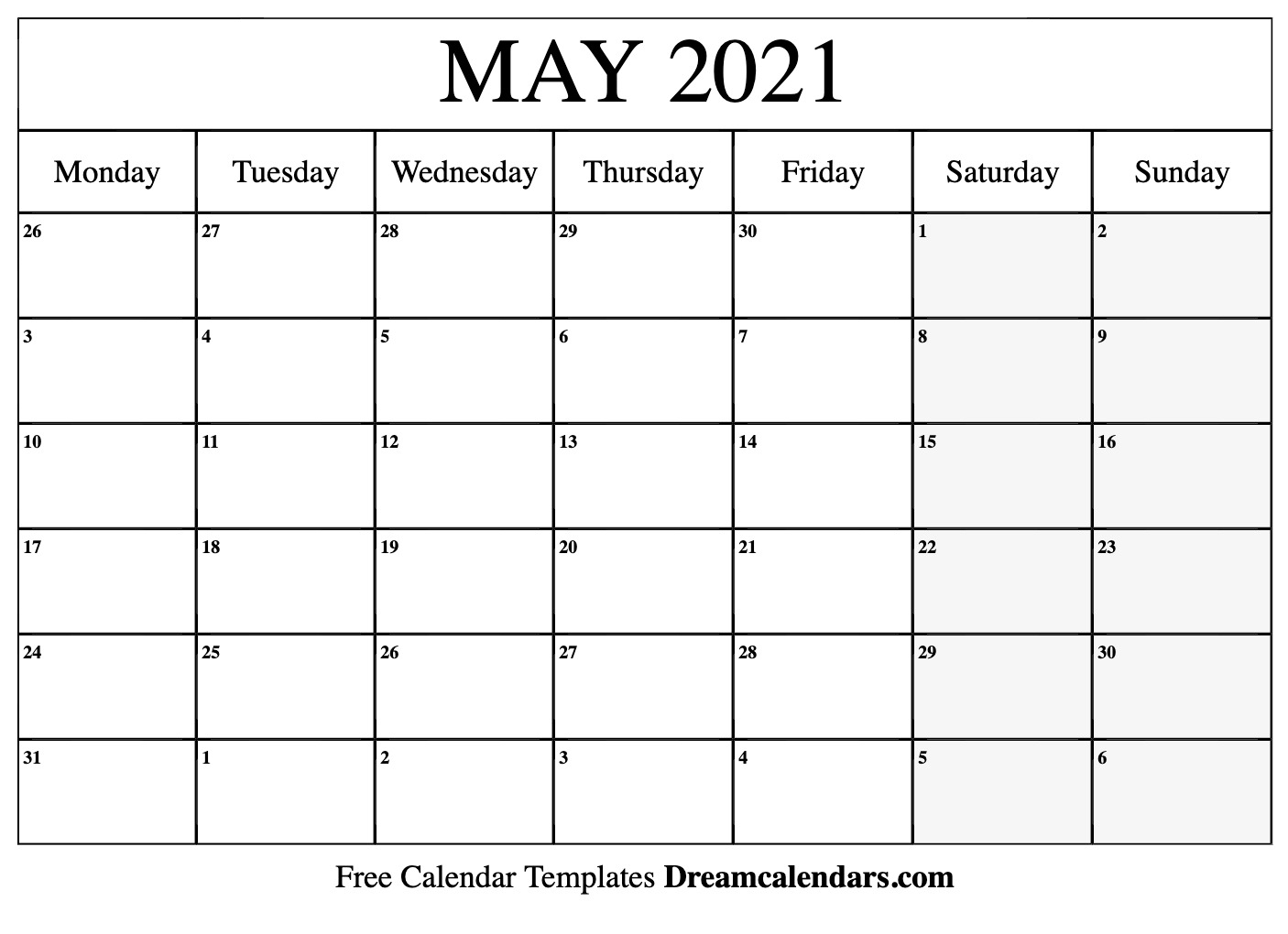 May 2021 Calendar Free Blank Printable Templates 1
