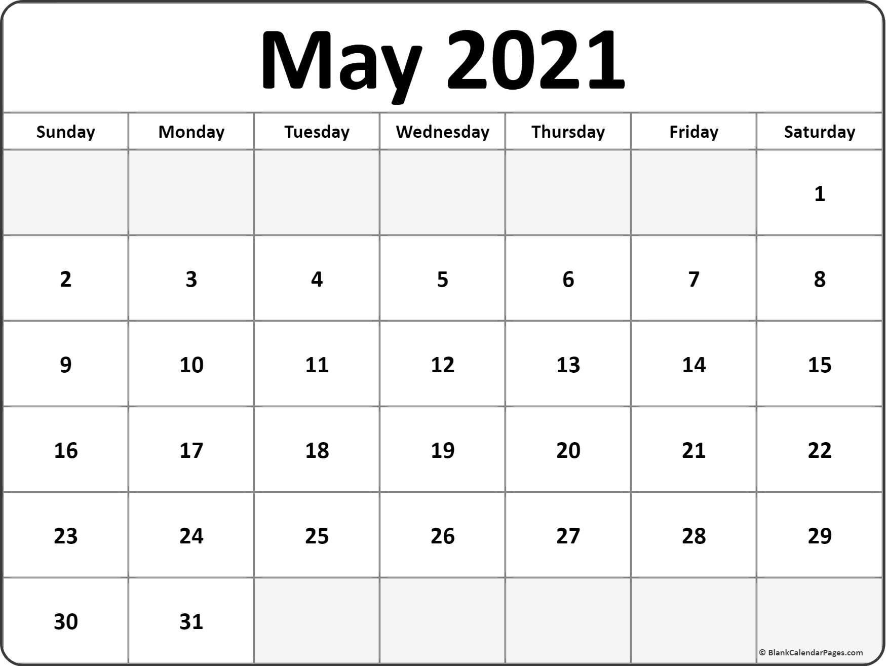 May 2021 Calendar Free Printable Monthly Calendars 1