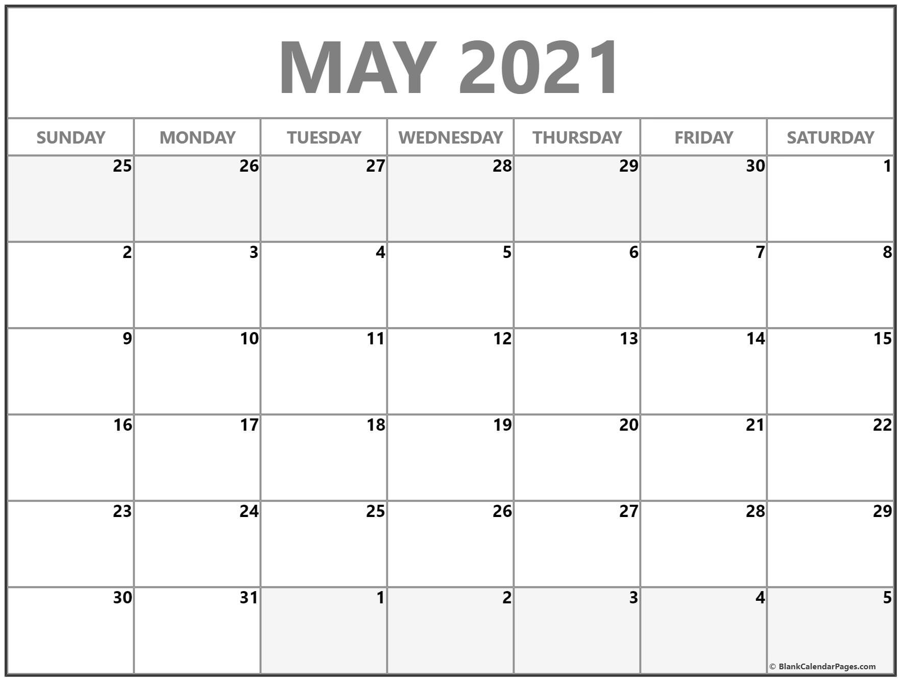 May 2021 Calendar Free Printable Monthly Calendars 2