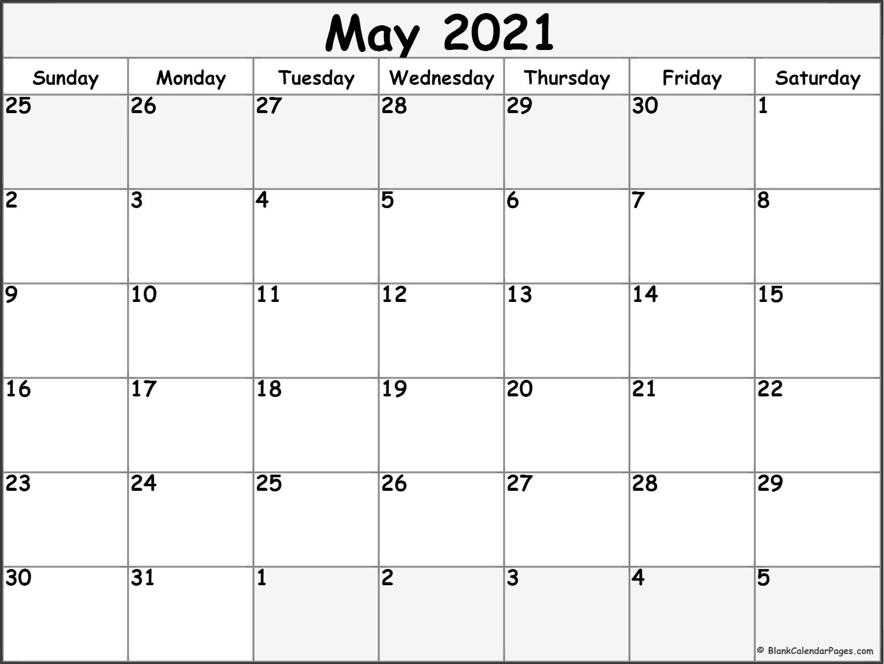May 2021 Calendar Free Printable Monthly Calendars 3