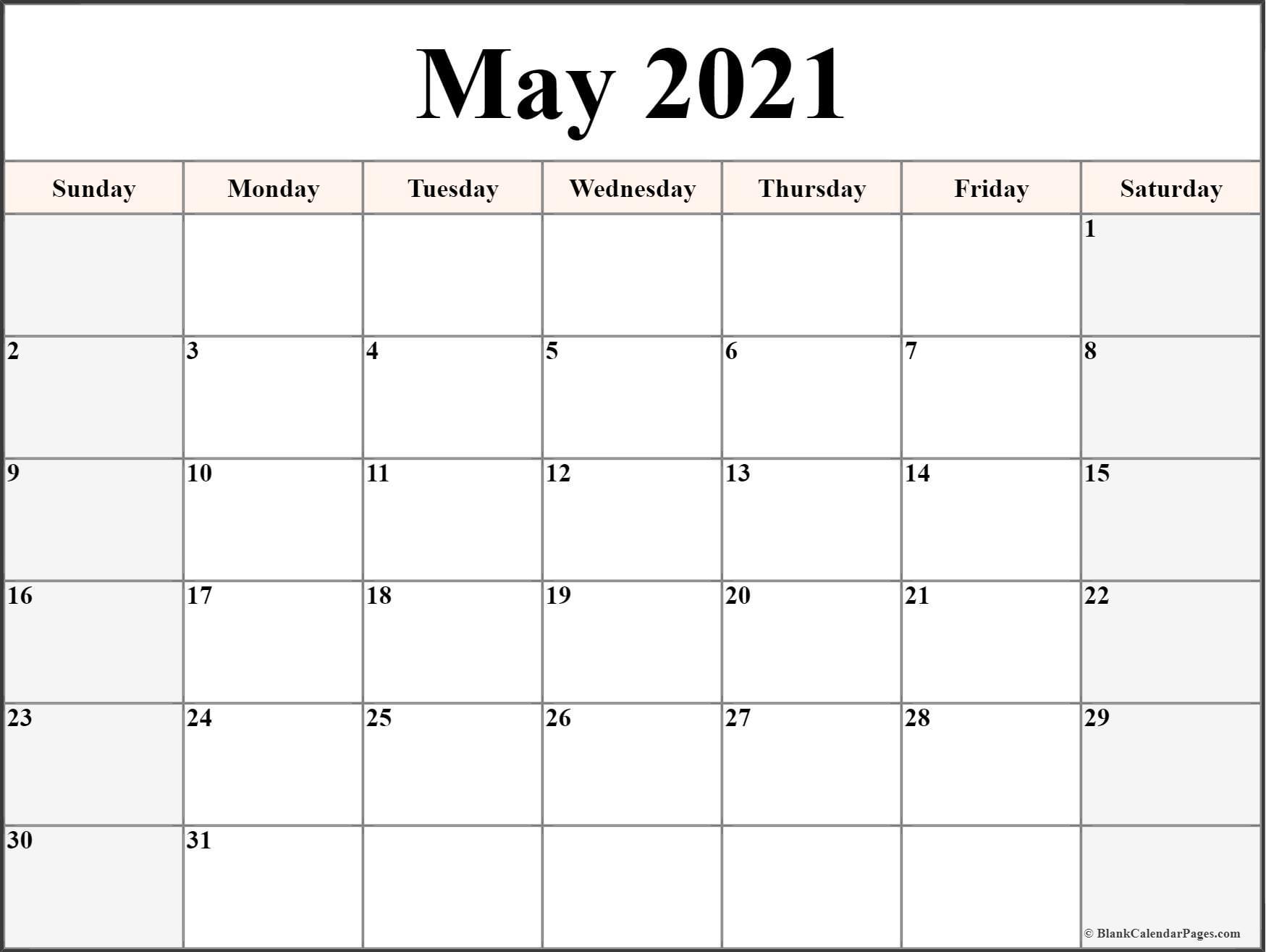 May 2021 Calendar Free Printable Monthly Calendars 5