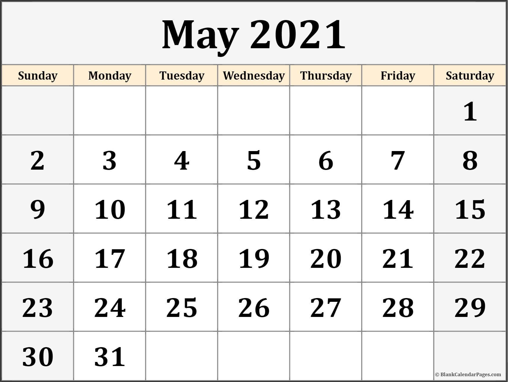 May 2021 Calendar Free Printable Monthly Calendars 7