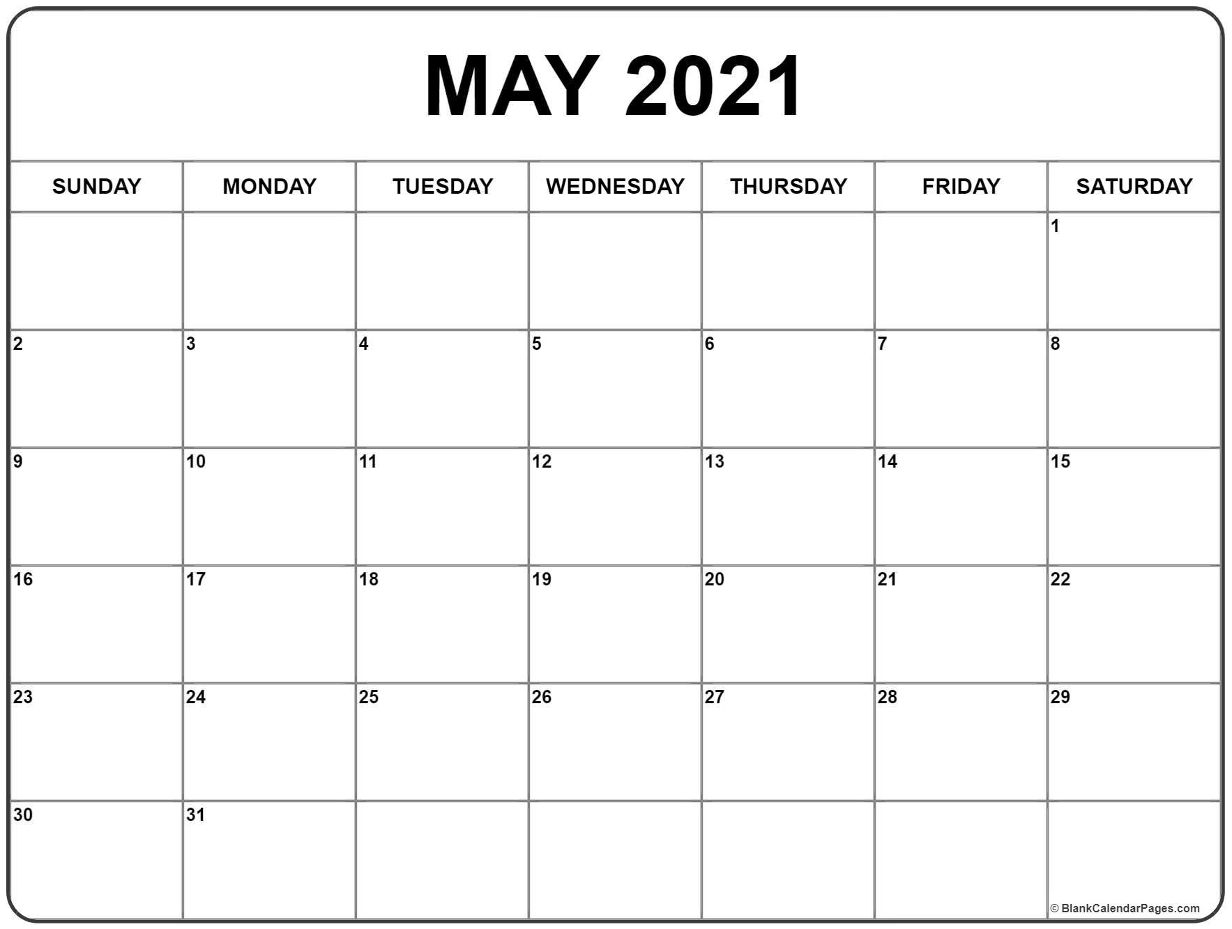 May 2021 Calendar Free Printable Monthly Calendars 9