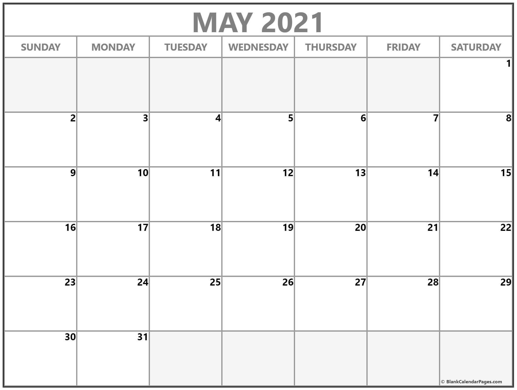 May 2021 Calendar Free Printable Monthly Calendars