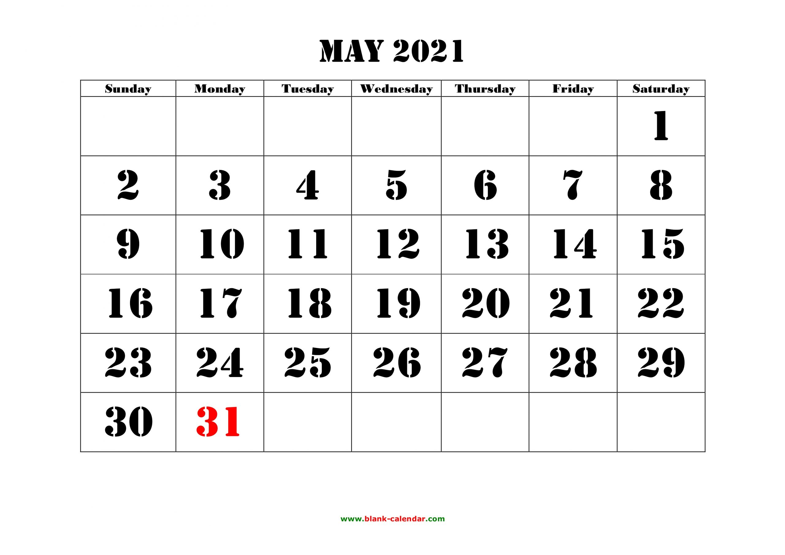 May 2021 Printable Calendar Free Download Monthly