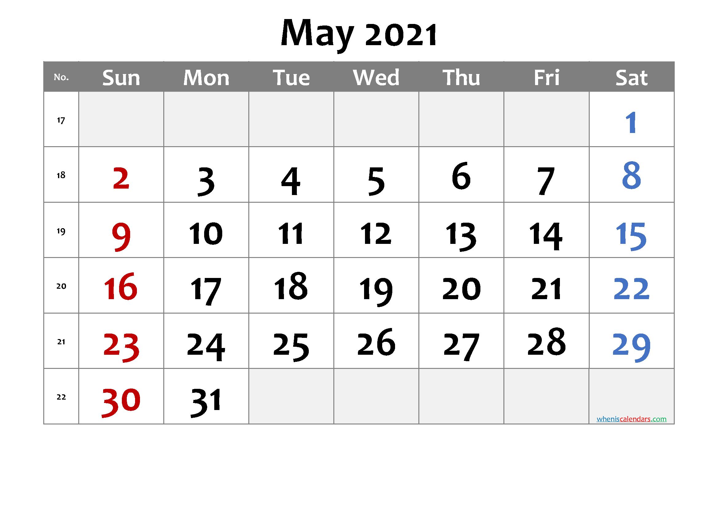 May 2021 Printable Calendar With Week Numbers 6
