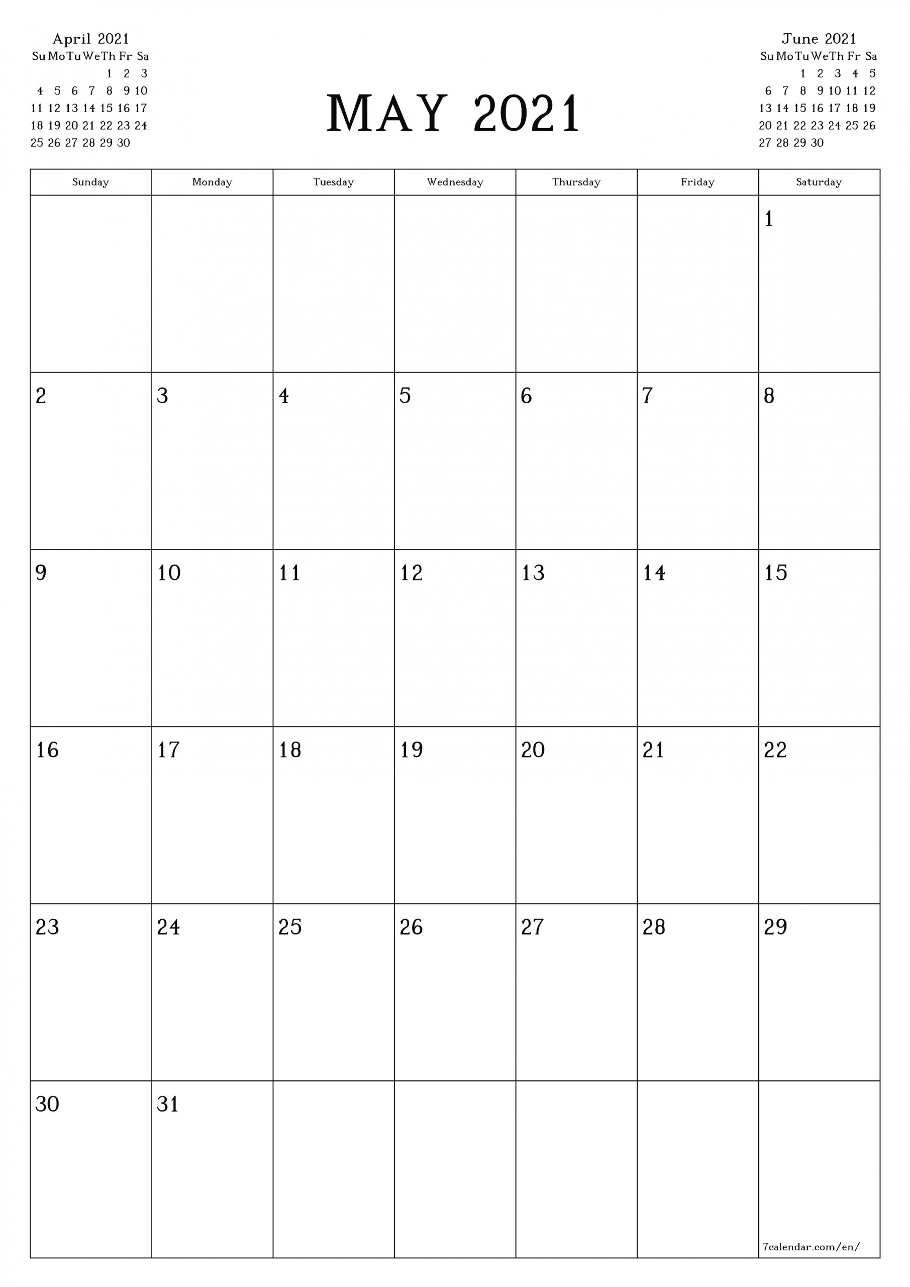 May Blank Calendar 2021 Printable March