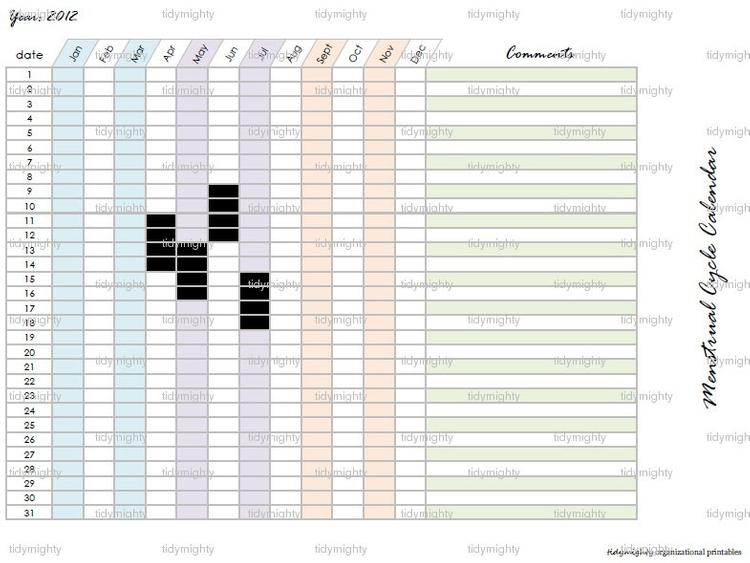 Menstrual Cycle Calendar Tracker Printable Pdftidymighty