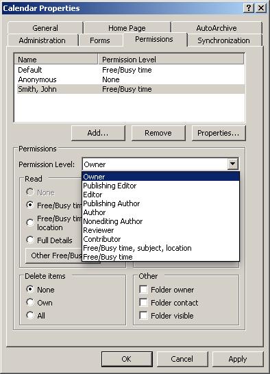 Microsoft Outlook 2007 Set Up Folder Sharing Permissions