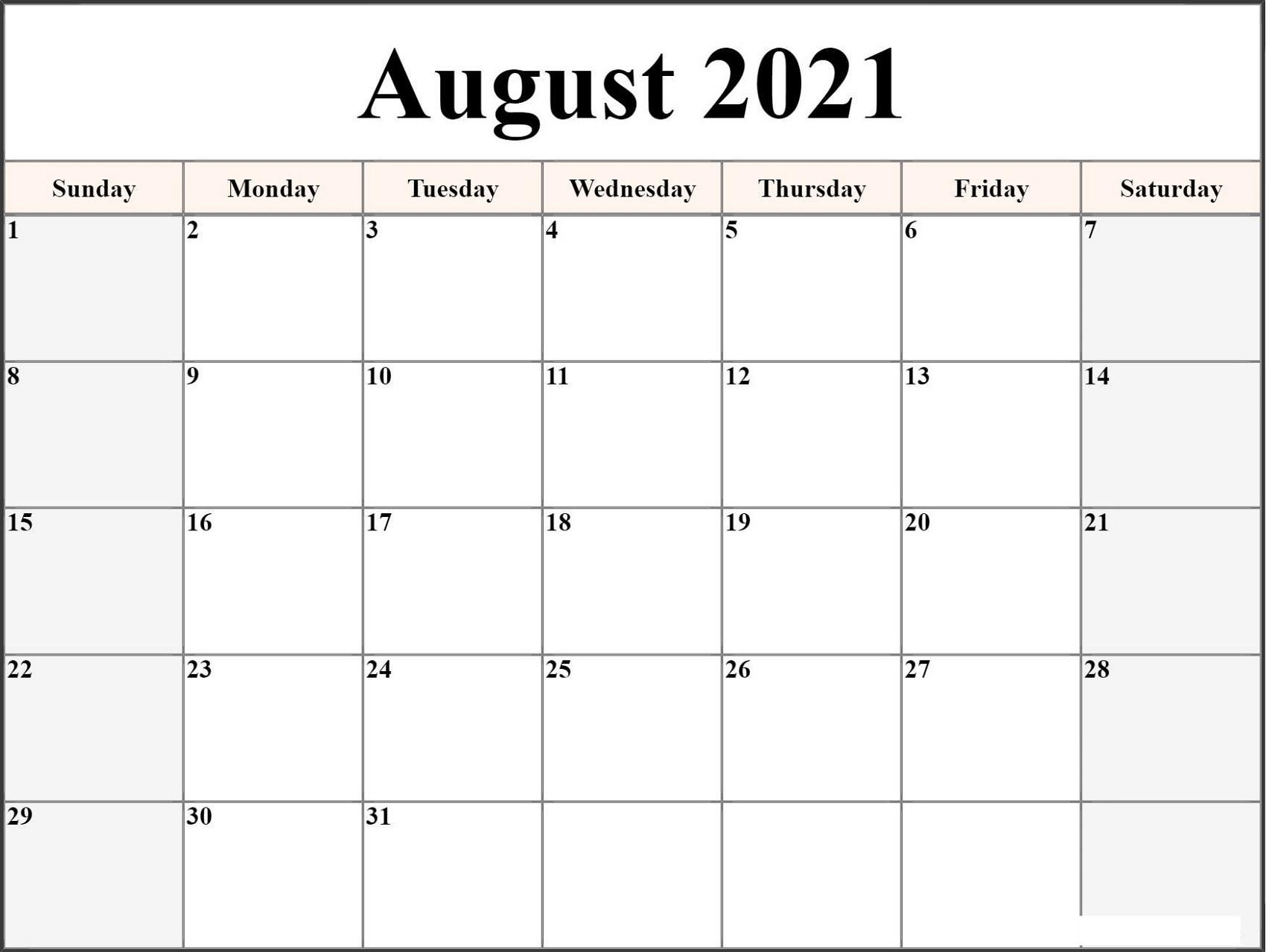 Microsoft Word Calendar Template 2021 Monthly Free