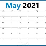 Monday Start May 2021 Calendar Printable Hd One Page