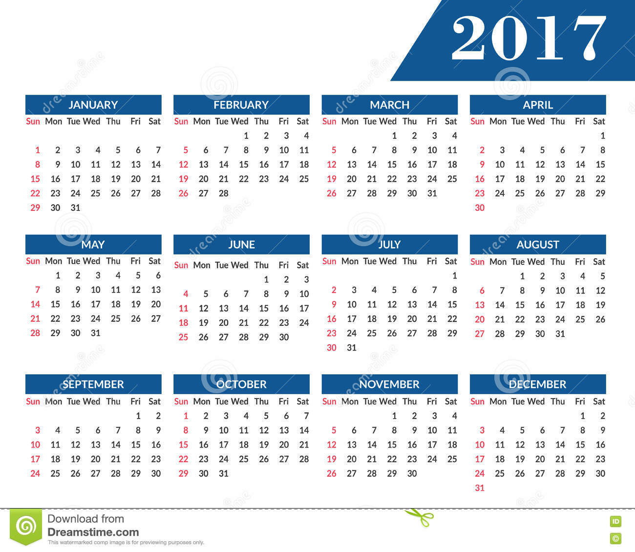 Monthly Wall Calendar For Year 2017 Stock Vector