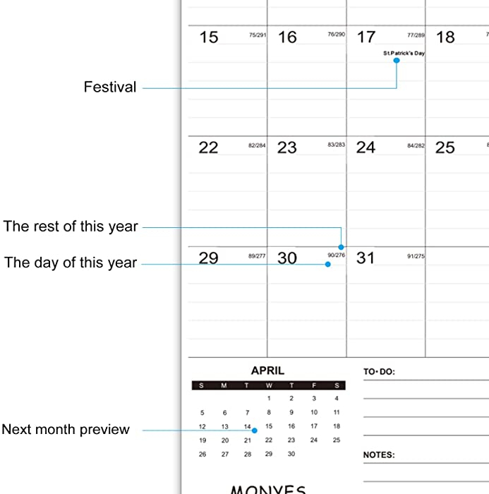 Monyes 2020 2021 Wall Calendar 17 X 12 Academic Desk 2