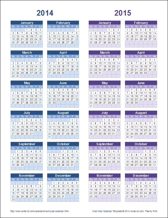 Multi Year Calendars 2 And 3 Year Calendar Templates
