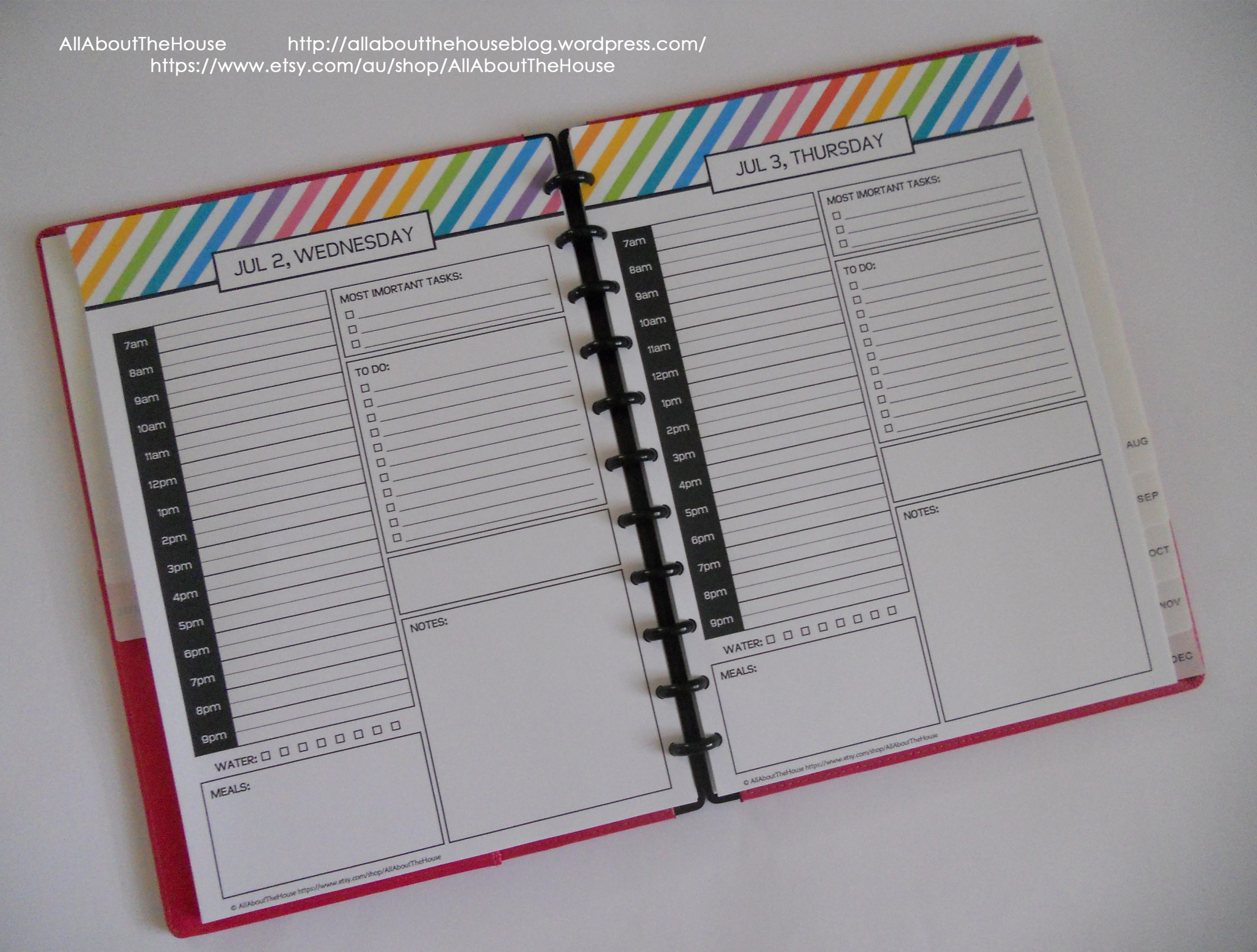 My 2015 Printable Rainbow Daily Planner Allaboutthehouse
