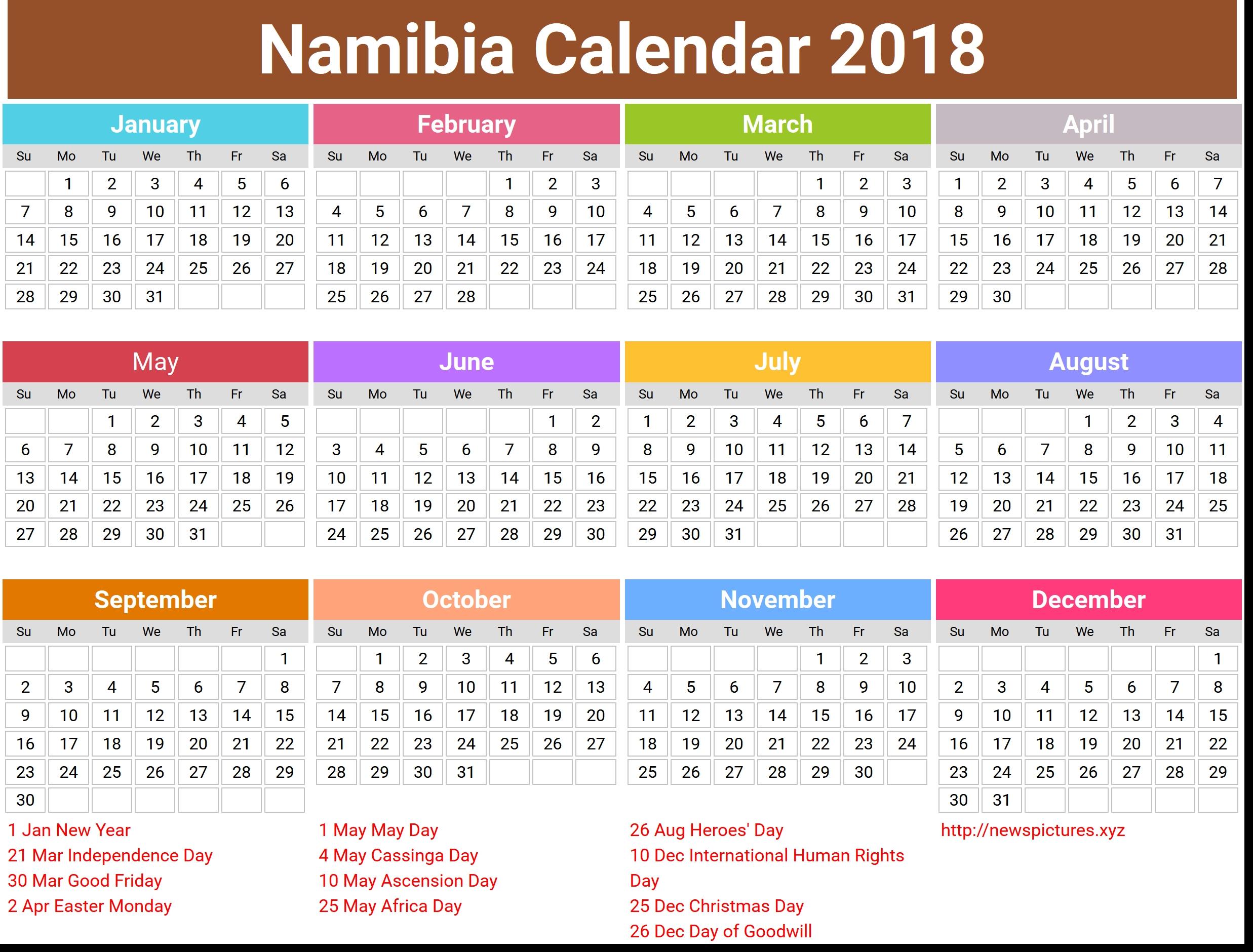 Namibia Calendar 2018 Qualads