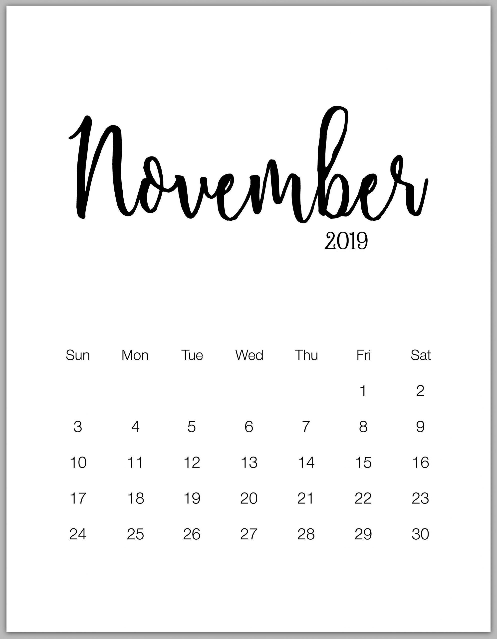 November 2019 Minimalist Calendar Minimalist Calendar