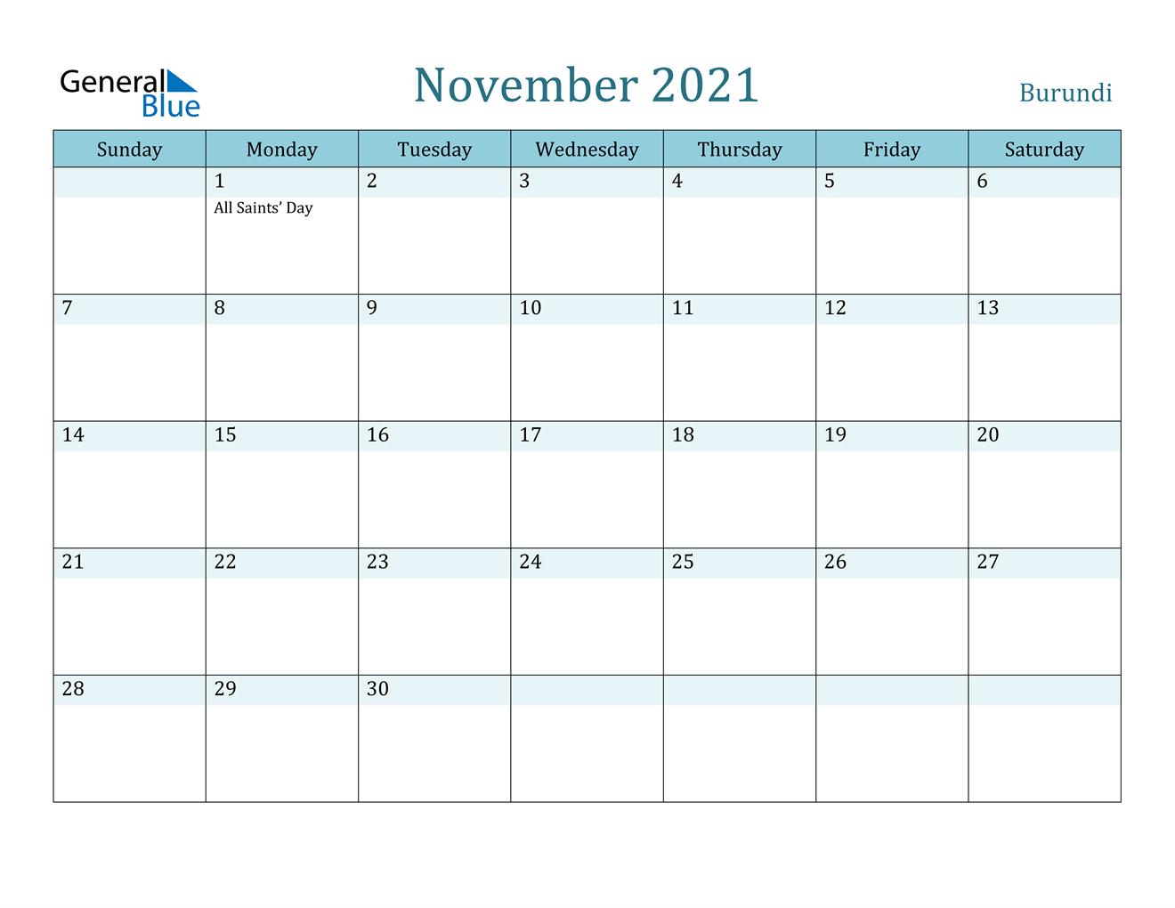 November 2021 Calendar Burundi