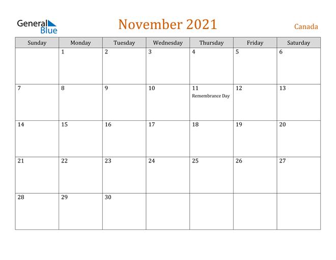 November 2021 Calendar Canada