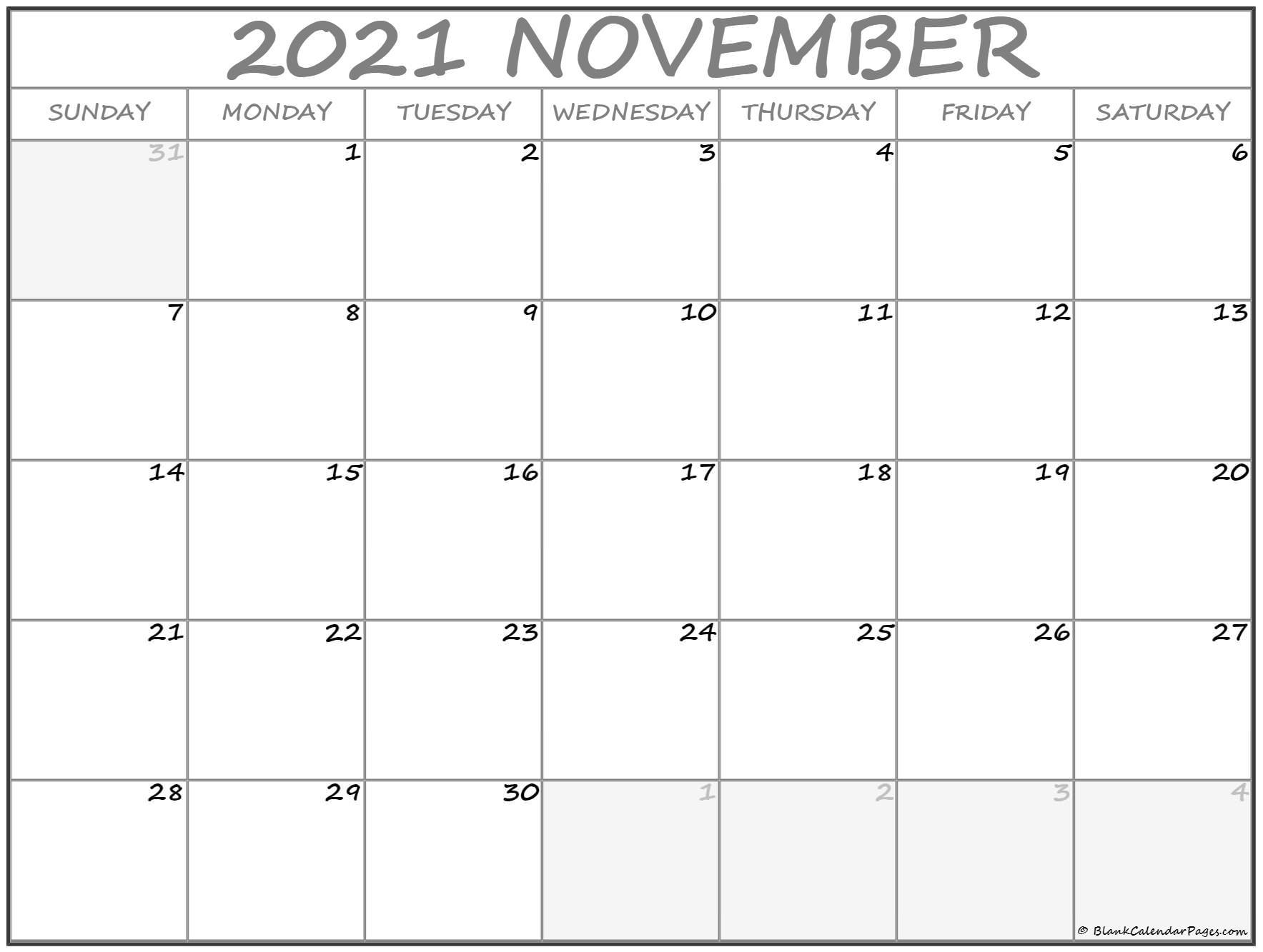 November 2021 Calendar Free Printable Monthly Calendars 1