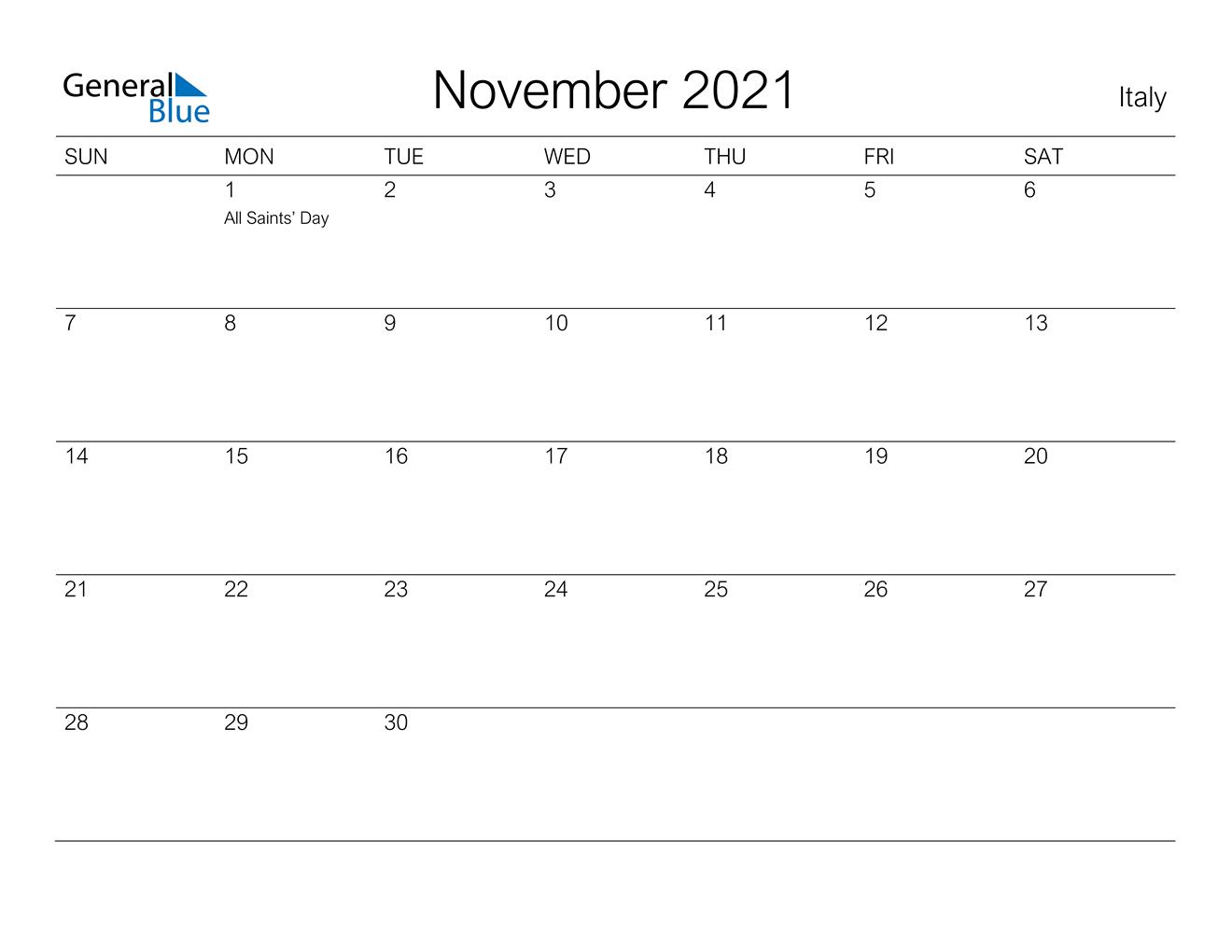 November 2021 Calendar Italy