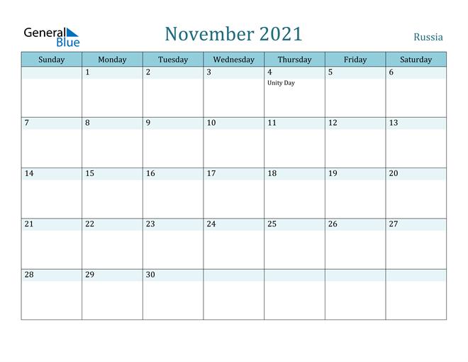 November 2021 Calendar Russia