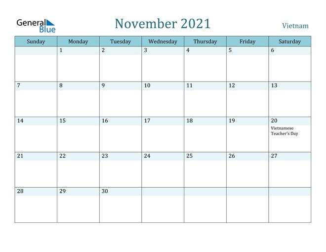 November 2021 Calendar Vietnam