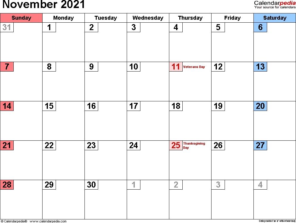 November 2021 Calendar With Notes Free Calendar Design