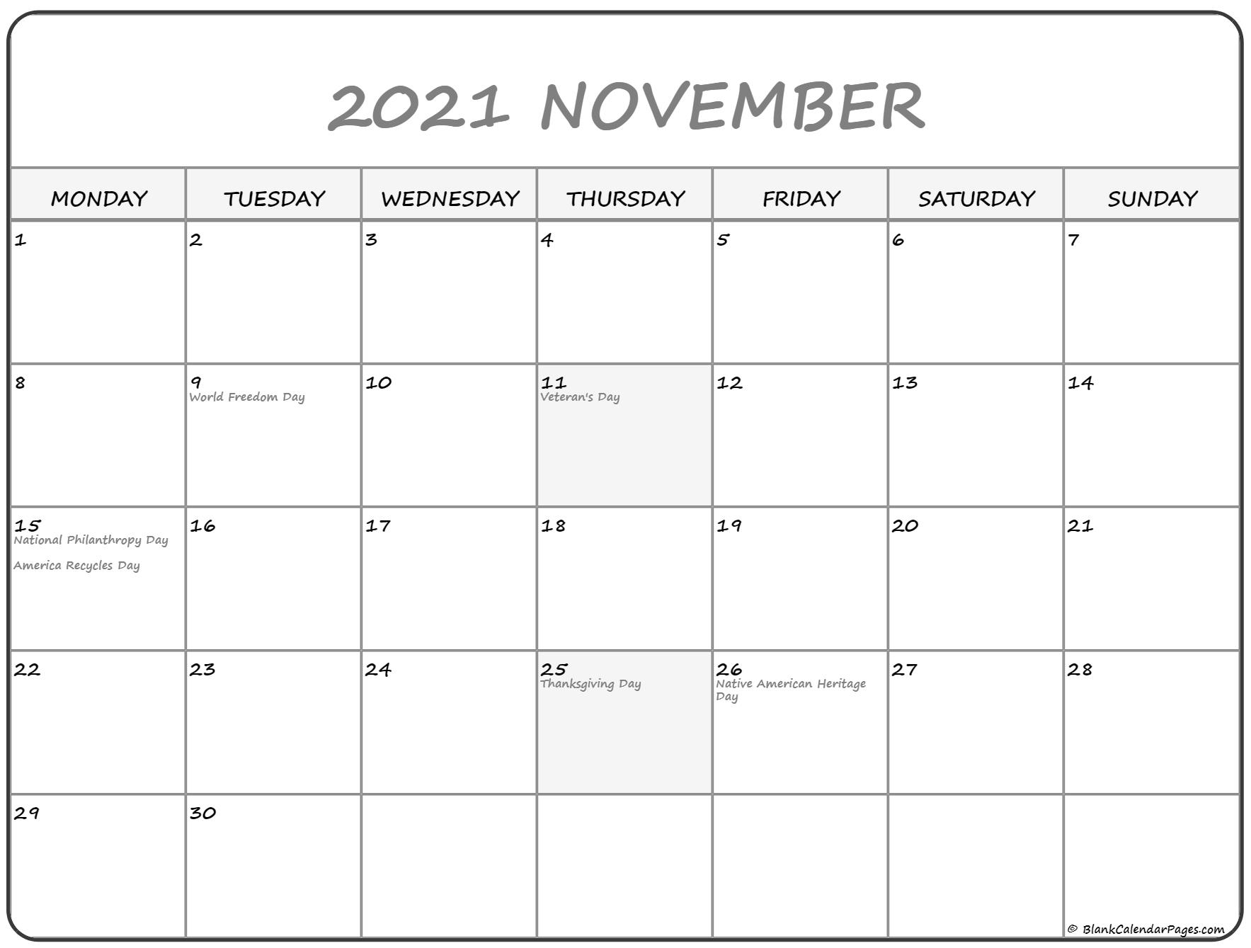 November 2021 Monday Calendar Monday To Sunday