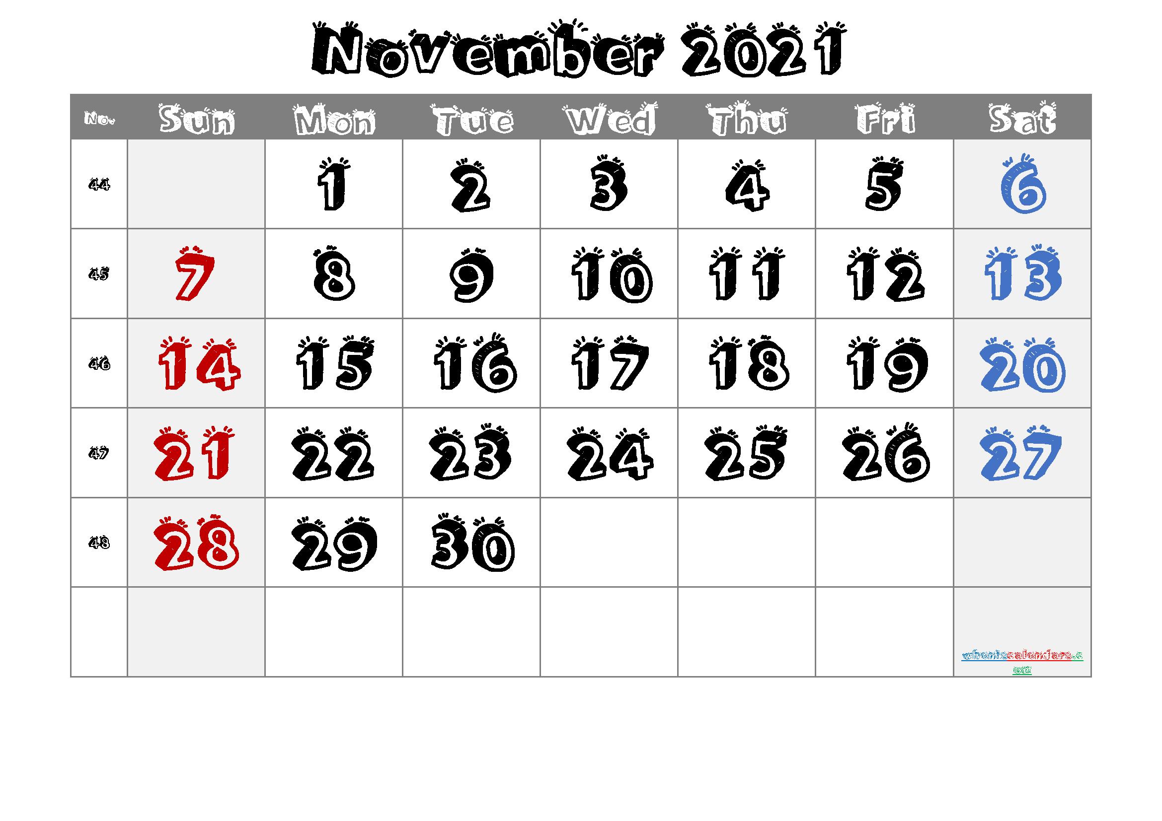 November 2021 Printable Calendar With Week Numbers 6 1