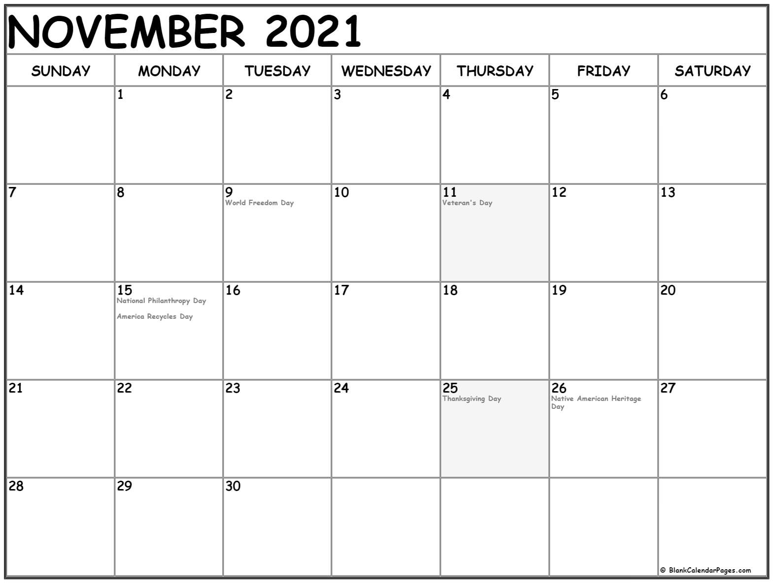 November Calendar Holiday 2021 2021 Calendar