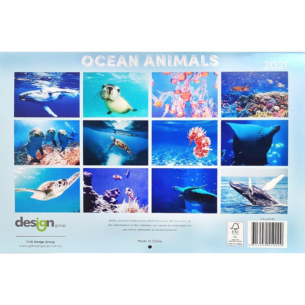 Ocean Animals 2021 Rectangle Wall Calendar 16month New