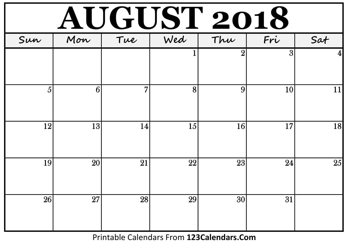 October 2018 Template Calendar Design