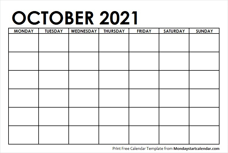 October 2021 Calendar Blank Template To Print Starting