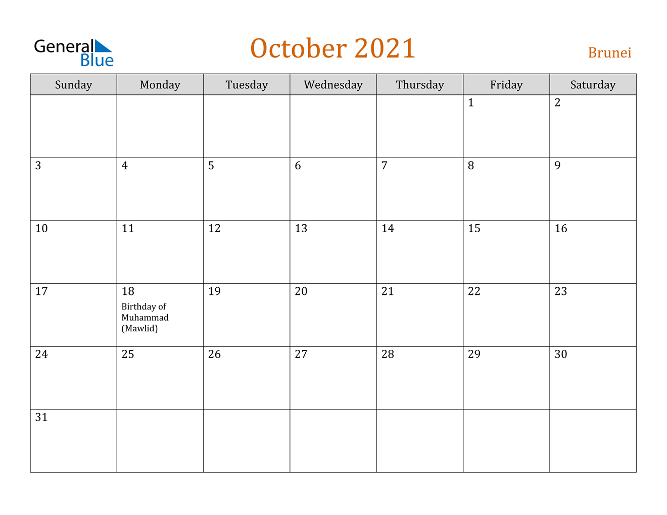October 2021 Calendar Brunei