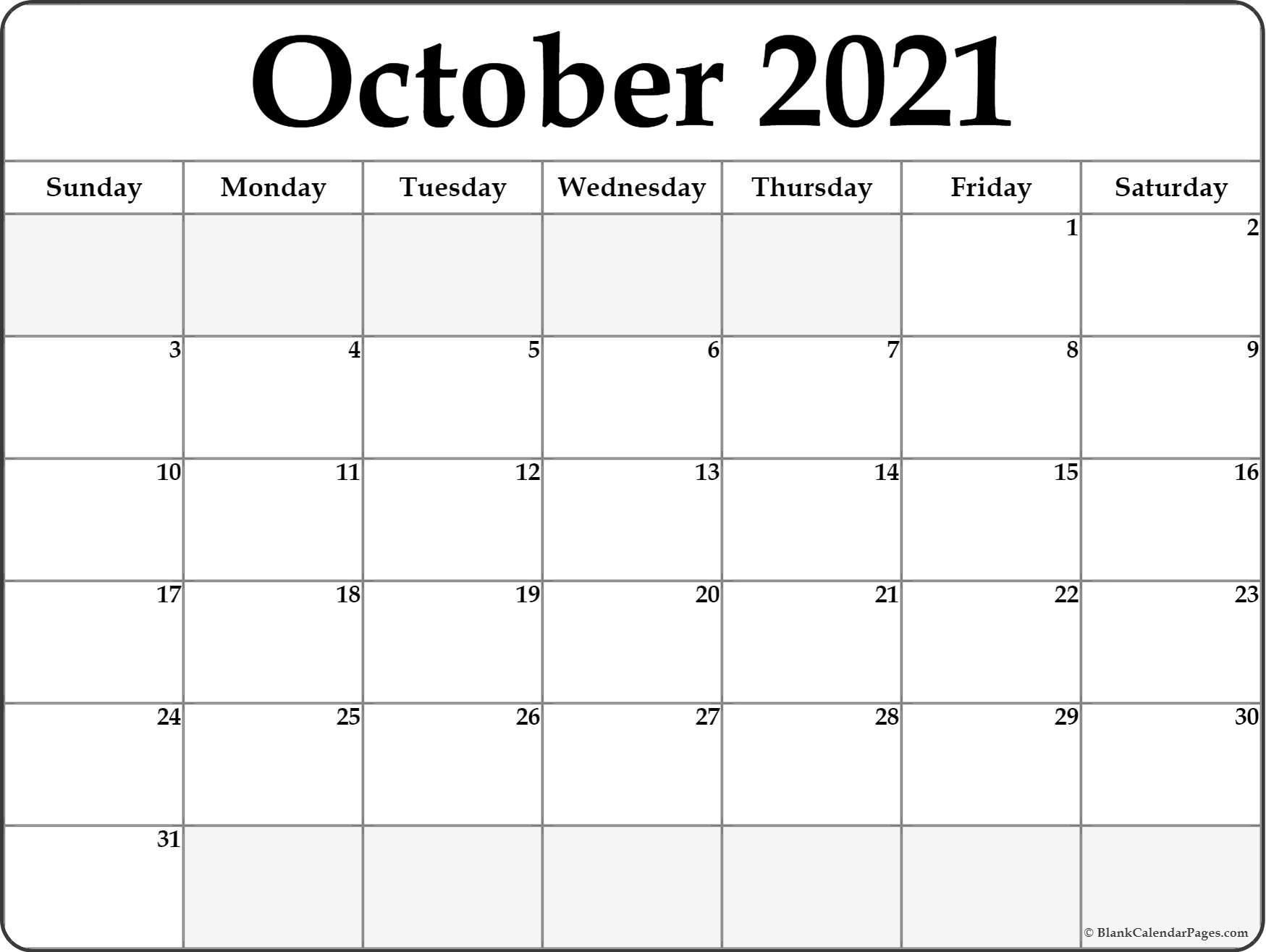 October 2021 Calendar Free Printable Monthly Calendars 2
