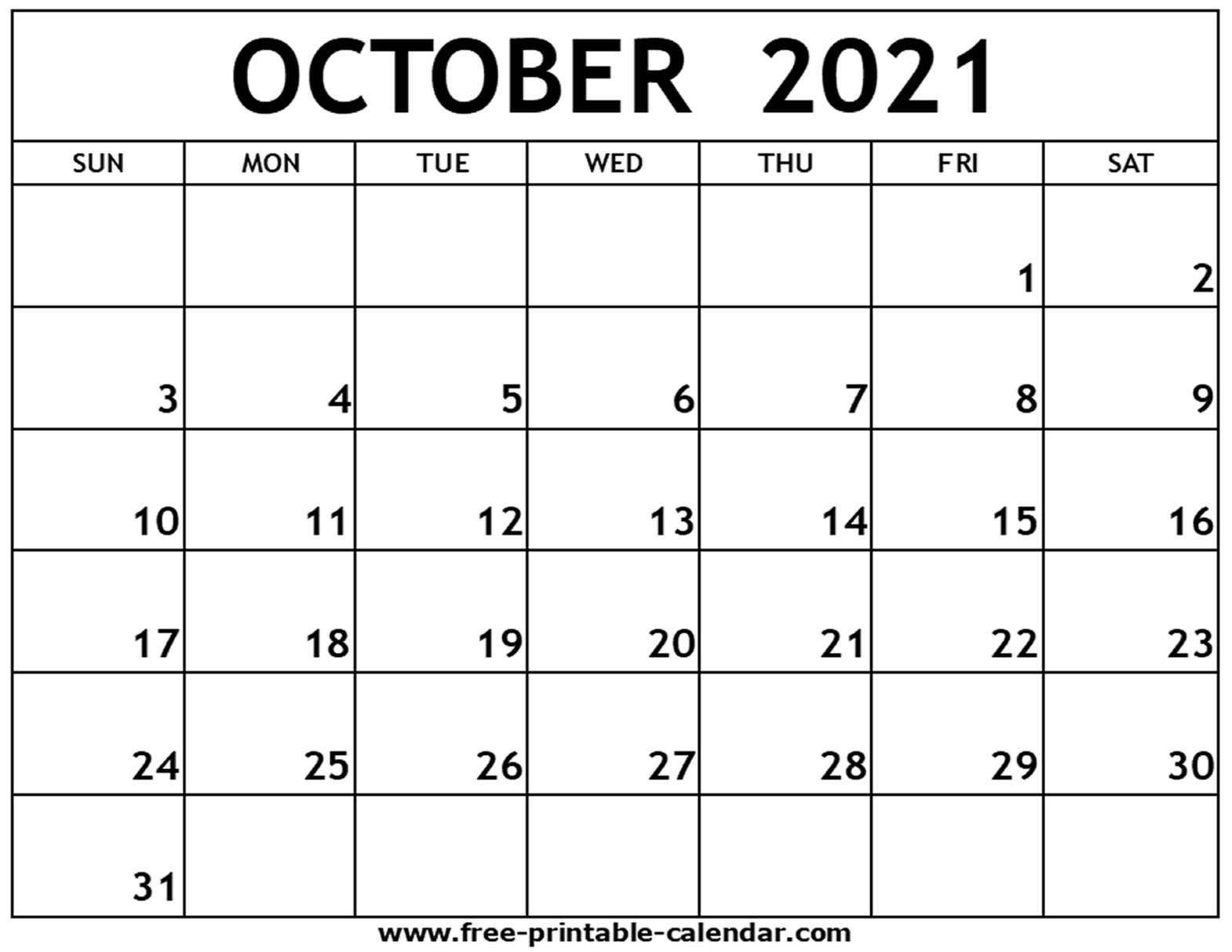 October 2021 Printable Calendar Free Printable Calendar
