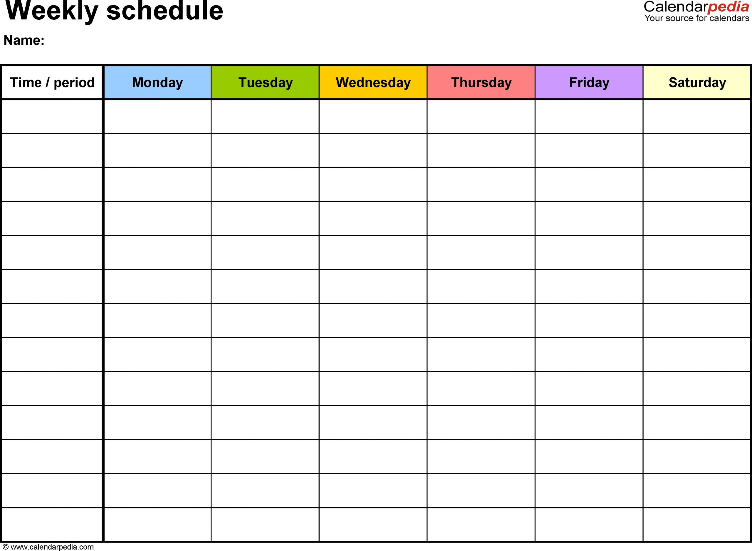 One Week Calendar Template With Hours Calendar