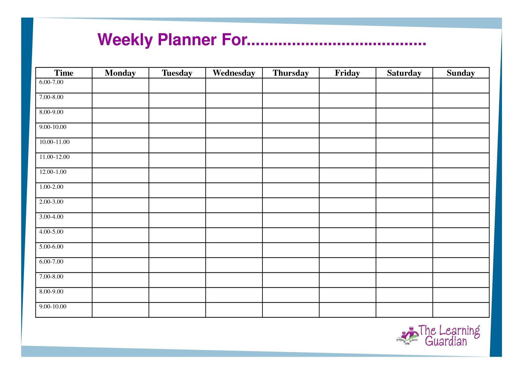 One Week Calendar With Hours Calendar Inspiration Design
