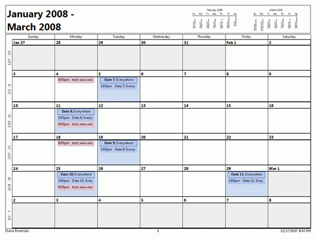 Outlook 2007 Month Calendar Printing Bug