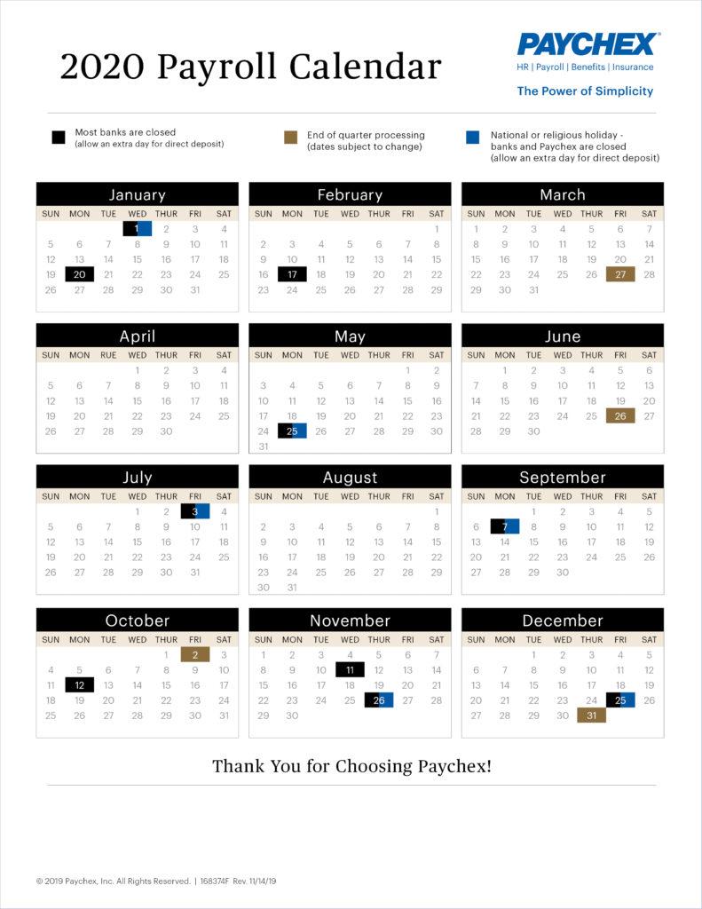 Payroll Calendar Paychex Payroll Calendar 2021