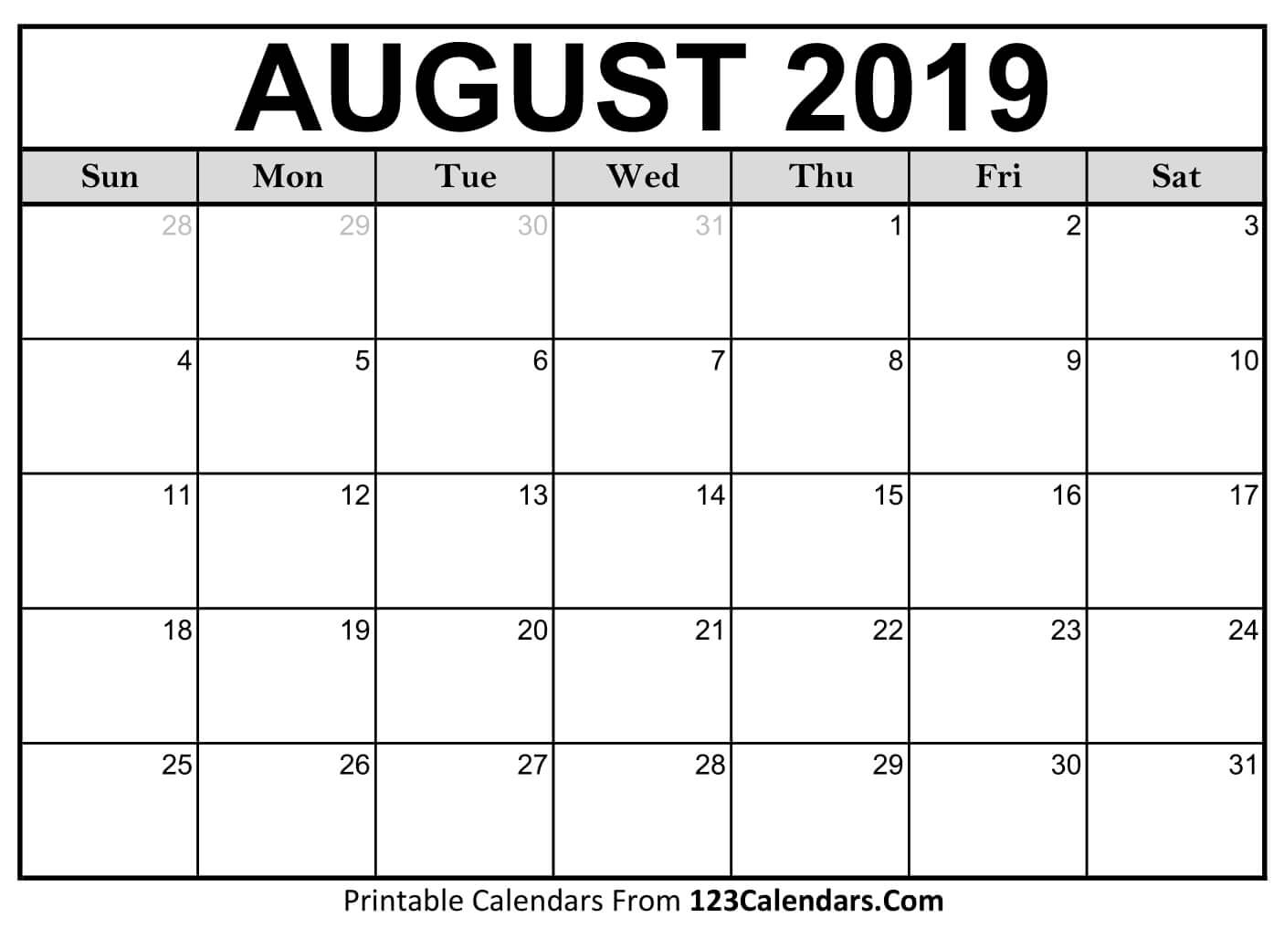 Pick Printable 30 Day Calendar August 2019 E28b86 The Best