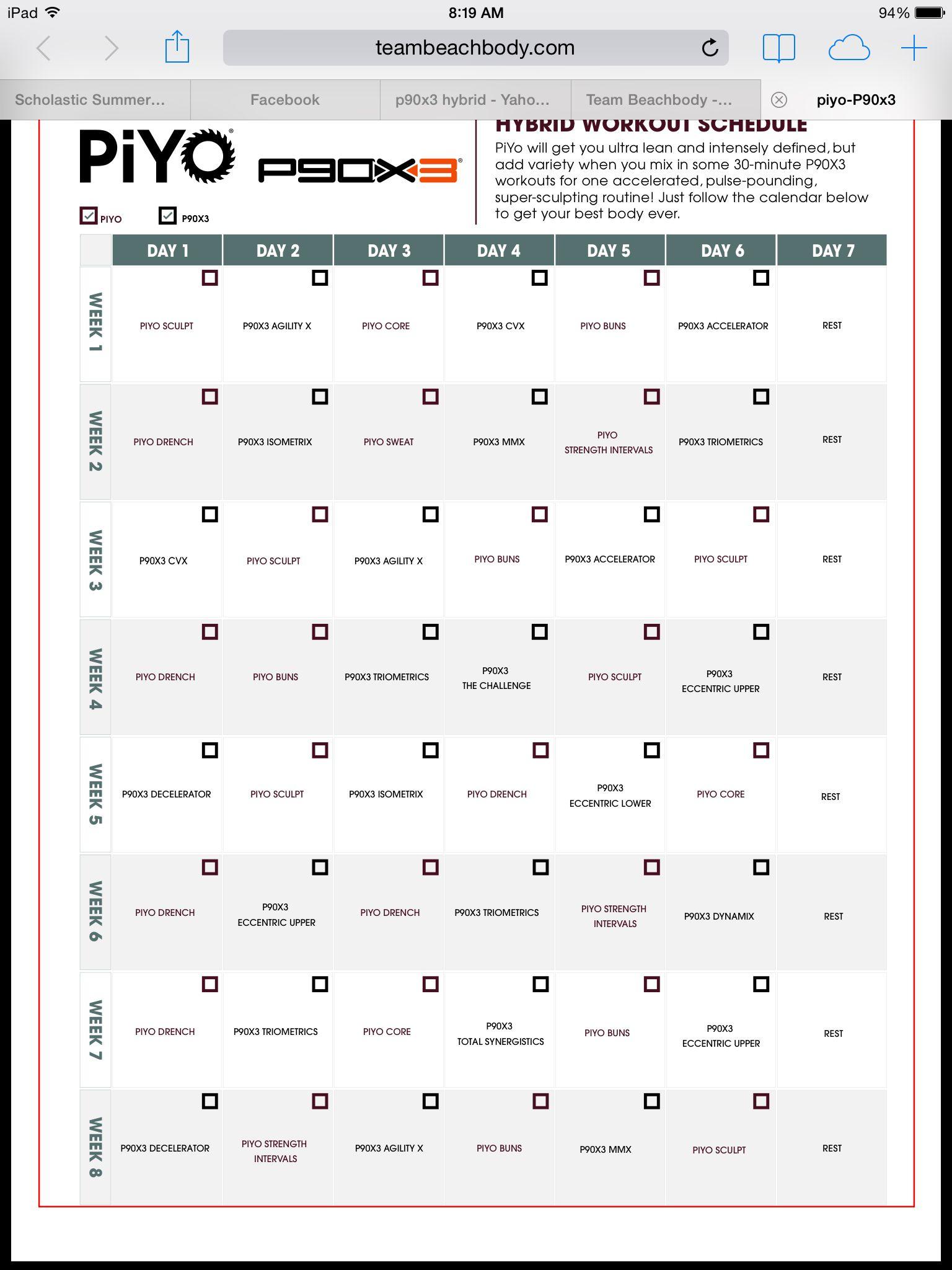Piyo P90x3 Hybrid T25 Workout T25 Workout Schedule