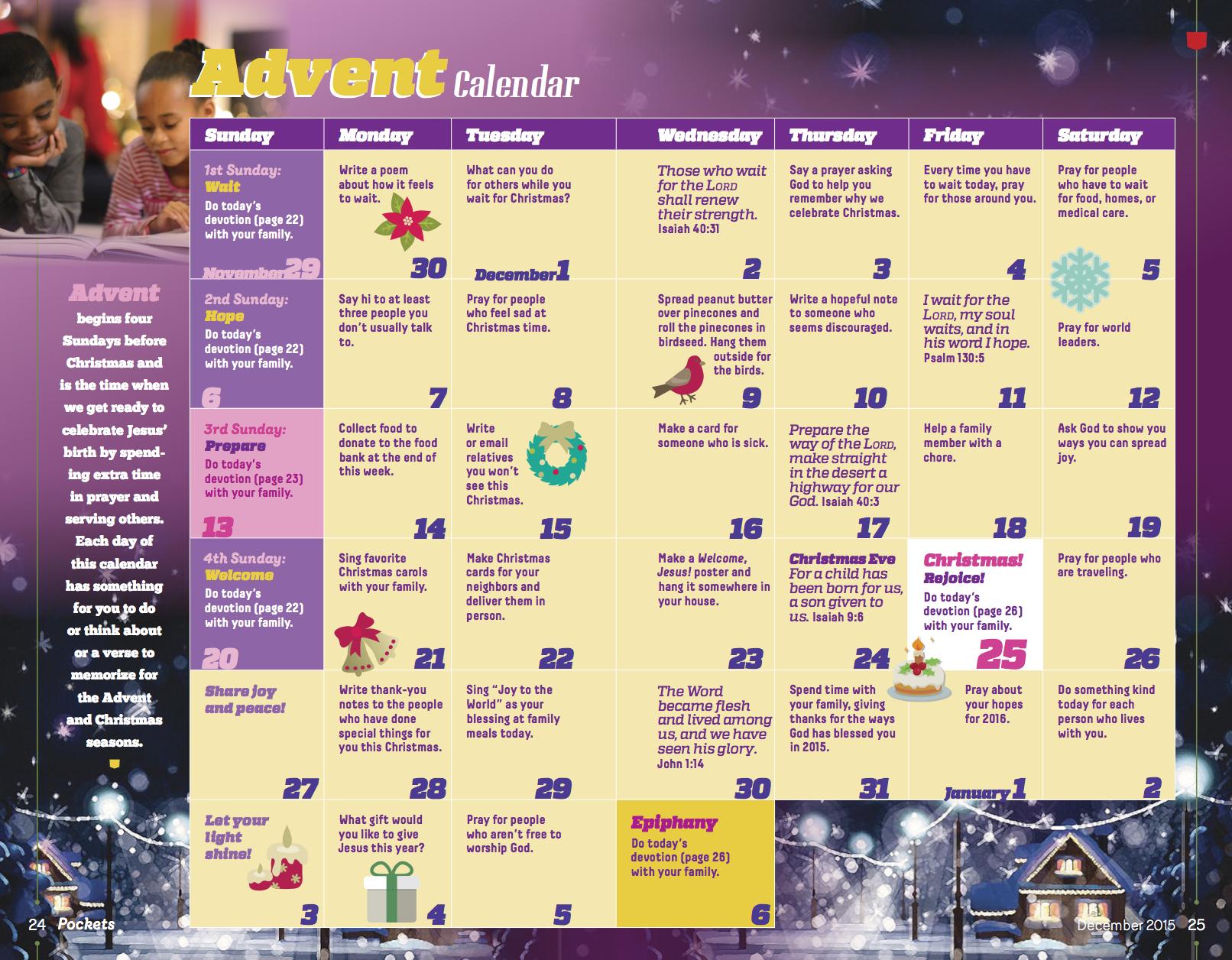 Pockets Advent Calendar Discipleship Ministries