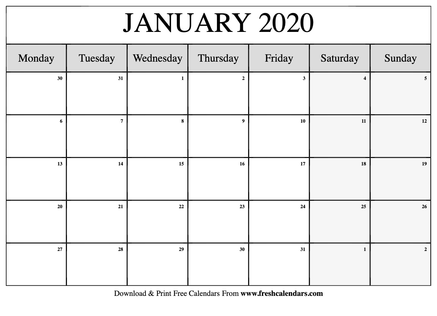 Print 2020 Calendar 11x17 Calendar Printables Free Templates 1