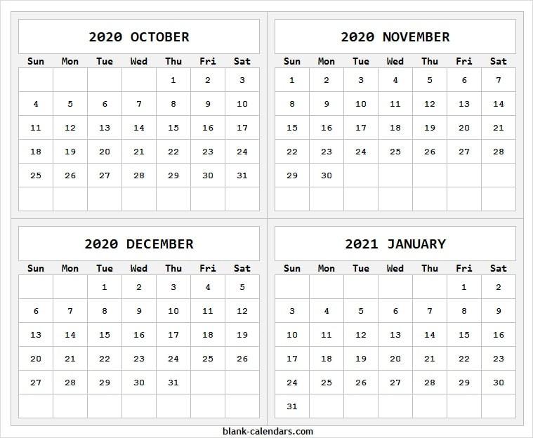 Print October 2020 To January 2021 Calendar Blank