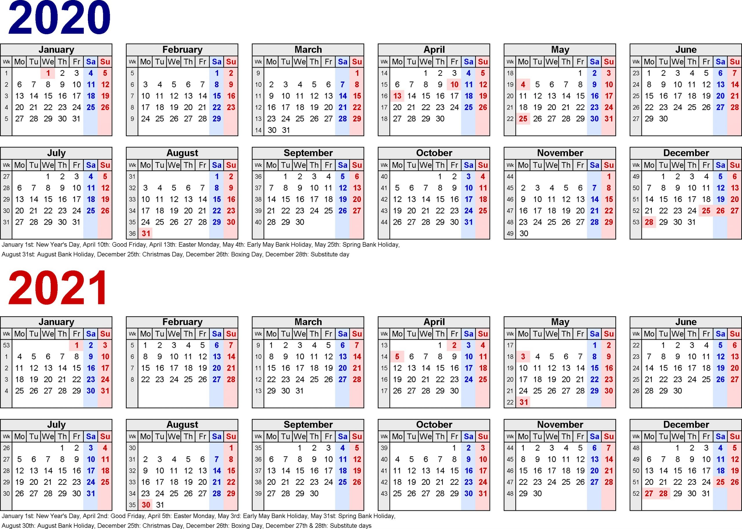 Printable 2 Year Calendar 2020 2021 Calendar Printable Free